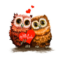 Two Owl Lovers With Heart