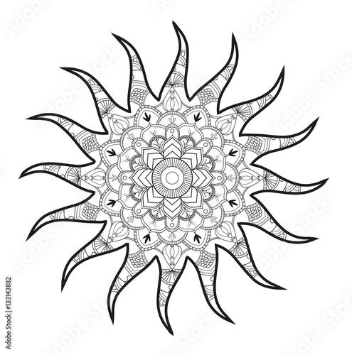 Immagine Sole Da Colorare.Vector Illustration Of A Sun Mandala For Coloring Book Antistress