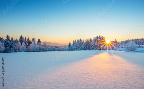 Wall Murals Blue Majestic sunrise in the winter mountains landscape.