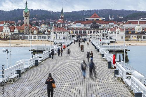 Foto auf Gartenposter Stadt am Wasser Sopot Pier (Molo) in the city of Sopot, Poland