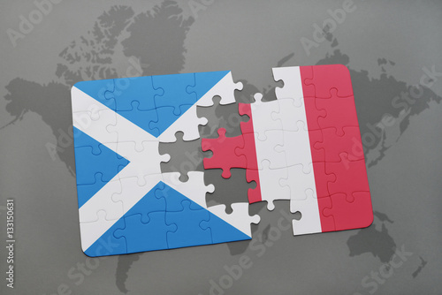 puzzle with the national flag of scotland and peru on a world map ...