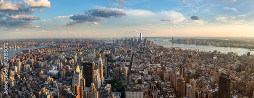 New York Manhattan - Skyline Panorama, wide angle,
