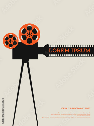 Fotografie, Tablou Movie film reel and filmstrip vintage poster vector illustration