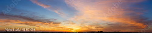 Aluminium Prints Heaven Beautiful sunset sky with amazing colorful clouds against deep blue