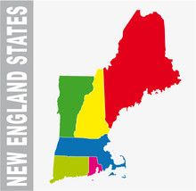 Colorful New England States Ad...