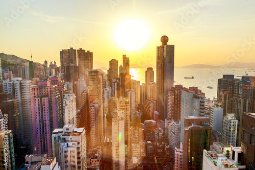 Foto auf Leinwand Hongkong Hong Kong at sunset, financial center of Asia. Beautiful citysca