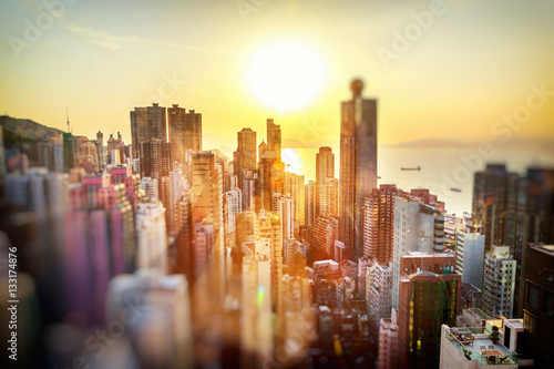 Foto auf AluDibond Hongkong Hong Kong at sunset, financial center of Asia. Beautiful citysca