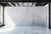 3D Render Of Room With Concrete Floor