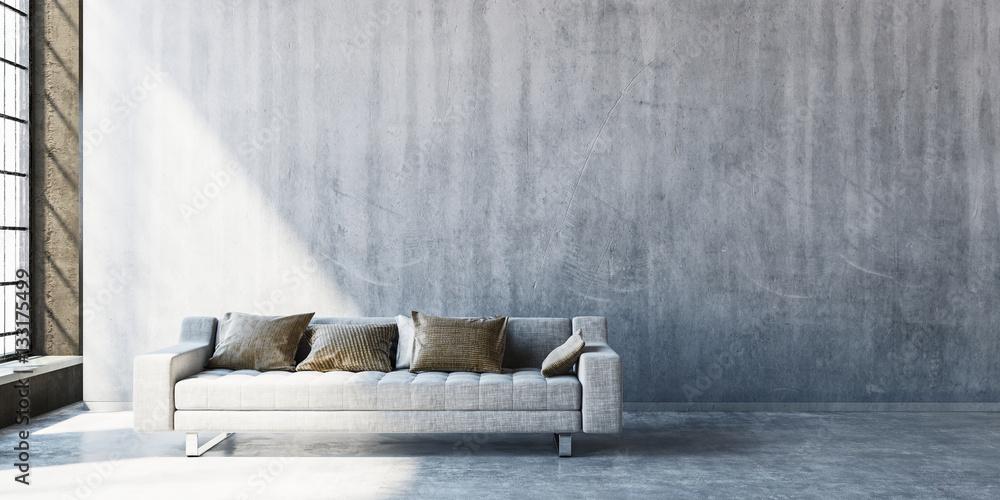 Fototapeta 3D render of large sofa on concrete floor
