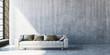 Leinwanddruck Bild - 3D render of large sofa on concrete floor