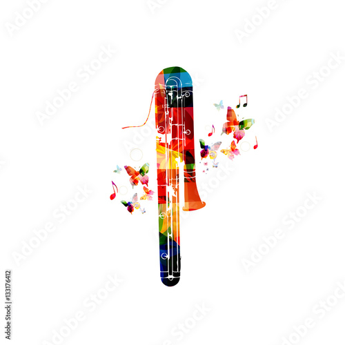 Colorful cassical contrabassoon with music notes isolated Canvas Print