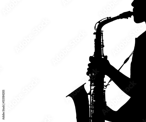 Fotografía silhouette young woman playing the saxophone isolated on white background