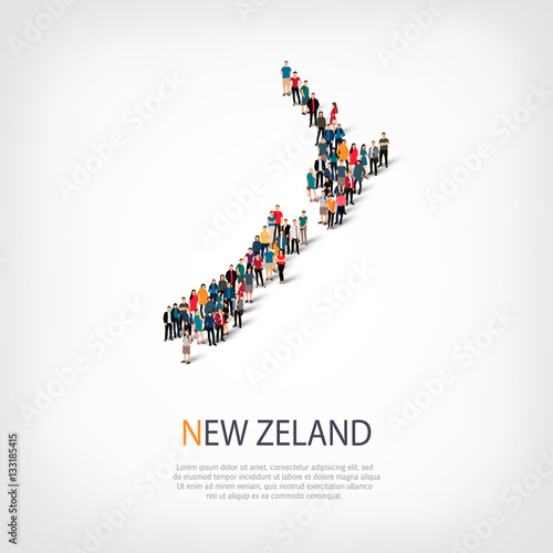 Fotomural people map country New Zealand vector