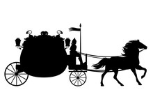 Antique Carriage With Horse Black Vector Silhouette