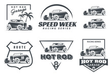 Set Of Hot Rod Logo, Emblems A...