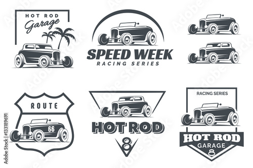 Fotografie, Obraz  Set of Hot Rod logo, emblems and icons.