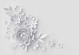 Fototapeta Kwiaty - 3d render, digital illustration, white paper flowers, floral background, corner decoration