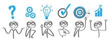 Geschäftserfolg - Banner Mit Verschiendenen Phasen Der Problemlösung