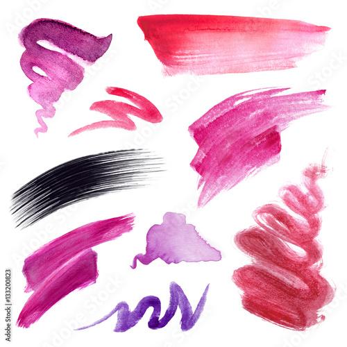 Watercolor Ilration Splashes Hot Pink Brush Strokes Make Up Design Elements Fashion