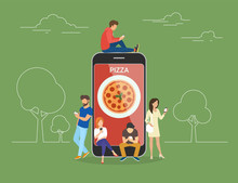 Ordering Pizza Online Concept ...