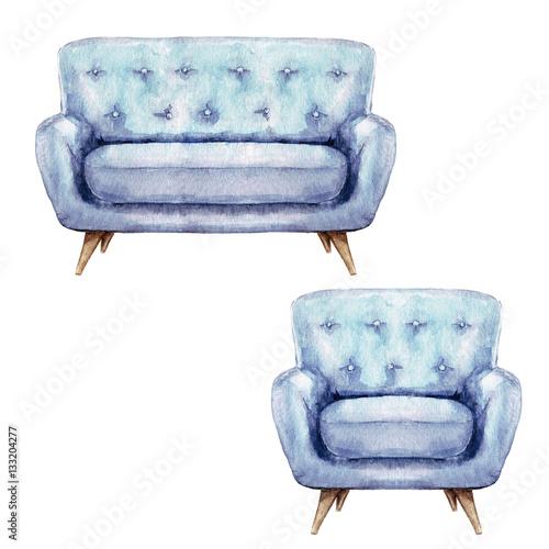 Acrylic Prints Watercolor Illustrations Blue Sofa and Armchair - Watercolor Illustration.