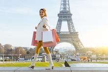 Young Woman Doing Shopping In Paris