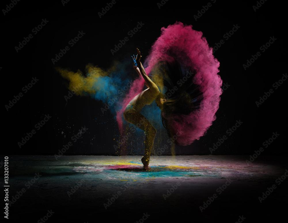 Fototapety, obrazy: Dancer moving in cloud of coloured dust on scene