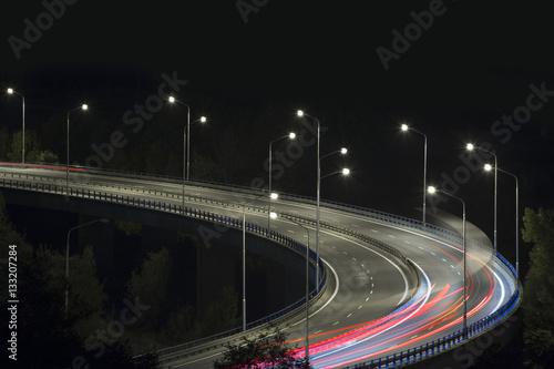Keuken foto achterwand Nacht snelweg night city bypass