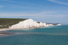 Seven Sisters Cliffs On The South Coast Of England From Afar