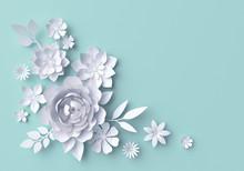 3d Illustration, White Paper Flowers, Blue Pastel Decorative Floral Background, Wedding Wall Decor