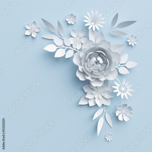 3d Illustration White Paper Flowers Blue Pastel Decorative
