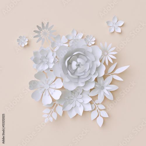 3d Illustration White Paper Flowers Pastel Decorative