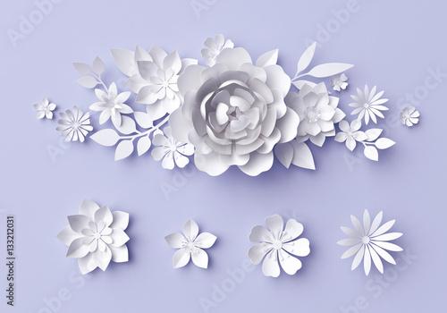 3d Illustration White Paper Flowers Lilac Pastel Decorative Floral