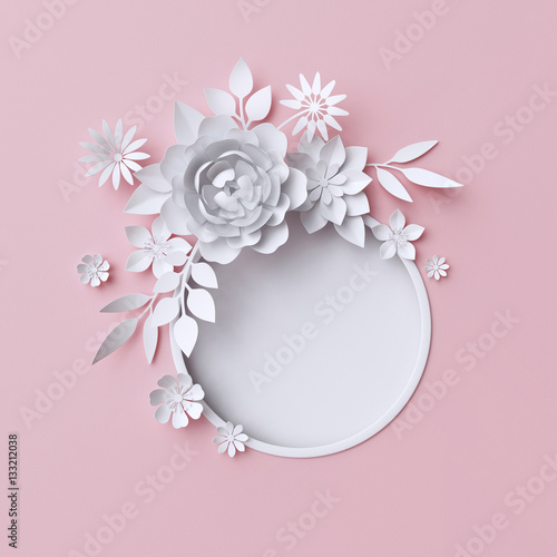 D Illustration White Paper Flowers Pink Pastel Decorative Floral