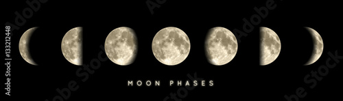 Leinwand Poster Phases lunaires vectorielles 1