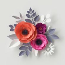 3d Render, Digital Illustration, Red Pink Orange Paper Flowers, Floral Background, Valentine's Day Greeting Card