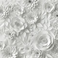 Panel Szklany Popularne 3d render, digital illustration, white paper flowers, wedding floral background, Valentine's day