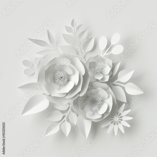 3d render, digital illustration, white paper flowers, wedding floral background, Valentine's day