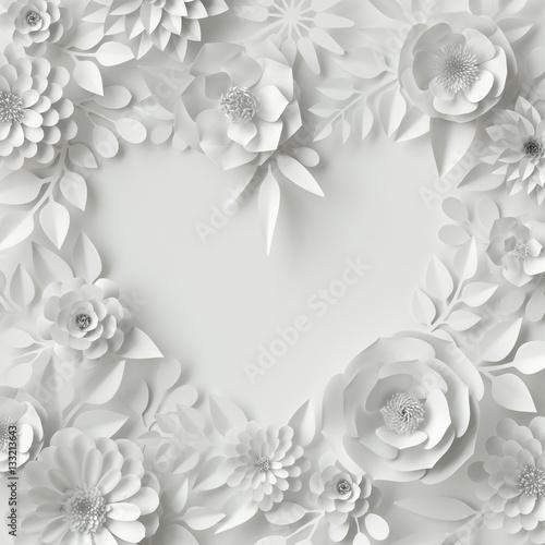 3d render digital illustration white paper flowers wedding floral 3d render digital illustration white paper flowers wedding floral background valentines day mightylinksfo
