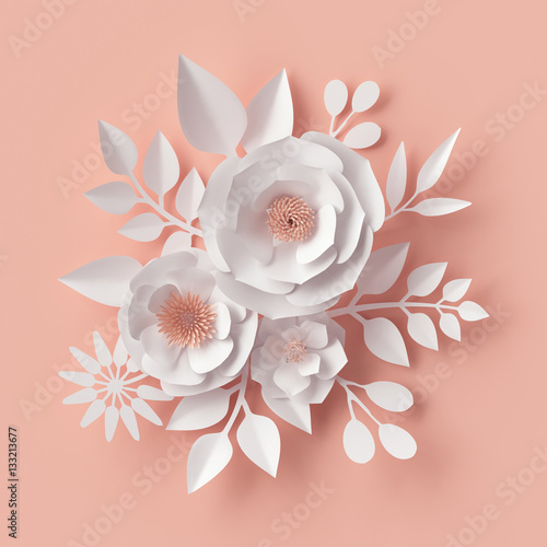 Fotografía  3d illustration, white paper flowers, blush floral background, Valentine's day c