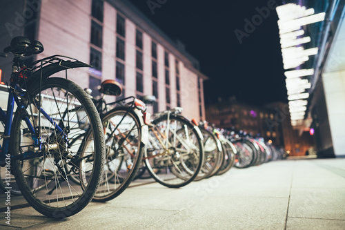 Bicycles on parking in European city