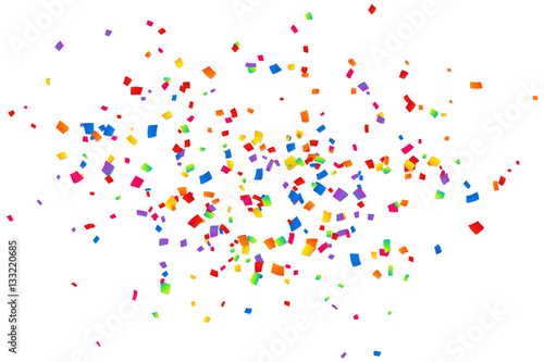 Obraz Bright colorful confetti isolated on white background - fototapety do salonu