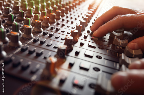 Fotomural Sound recording studio mixer desk