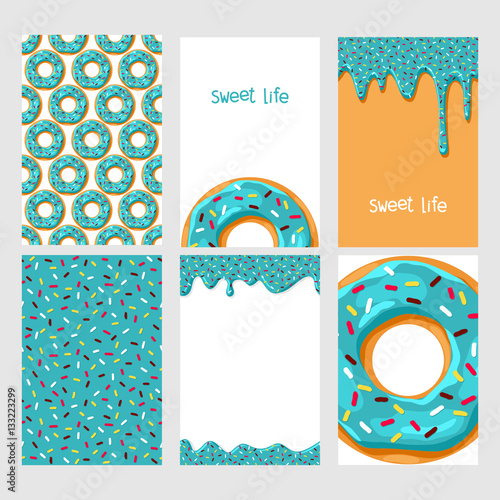 fototapeta na ścianę Set of bright food cards. Set of donuts with chocolate glaze. Donut seamless patter