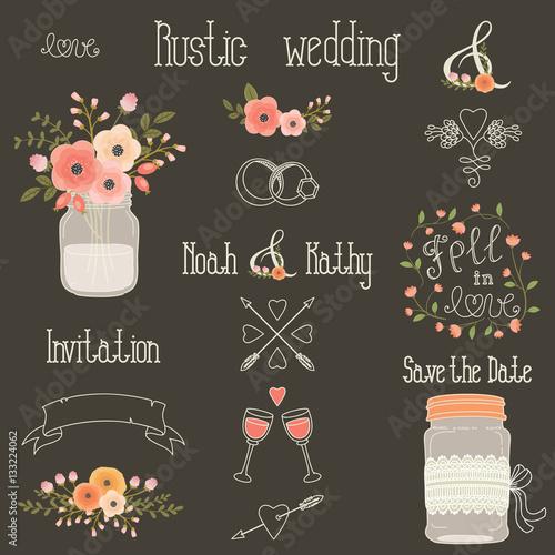 Fotografía  Rustic wedding vector design elements