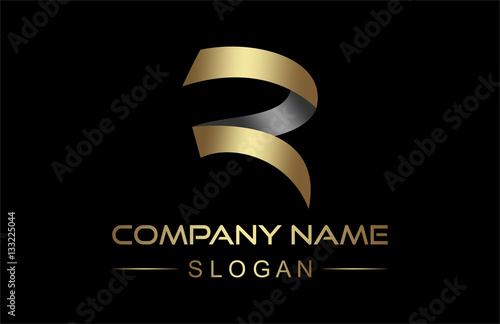 Photo  logo letter r ribbon in gold and metal color