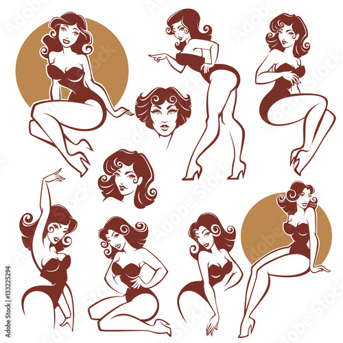 pinup girls vector collection buy this stock vector and explore