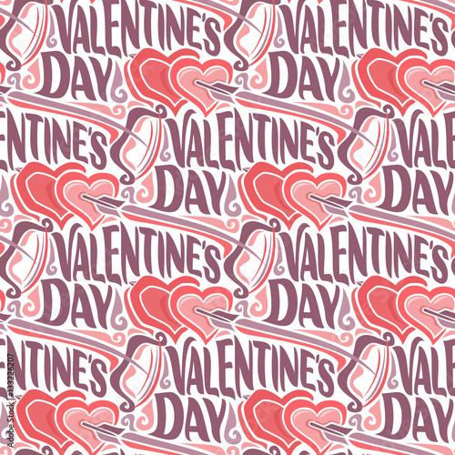 Materiał do szycia Wektor wzór dla szczęśliwy Valentine's Day: łuk i strzałki pływające w sercach na papieru do pakowania na prezent, podłoże z nadpisem Walentynki, streszczenie tapeta ozdoba wakacje z tekstem.