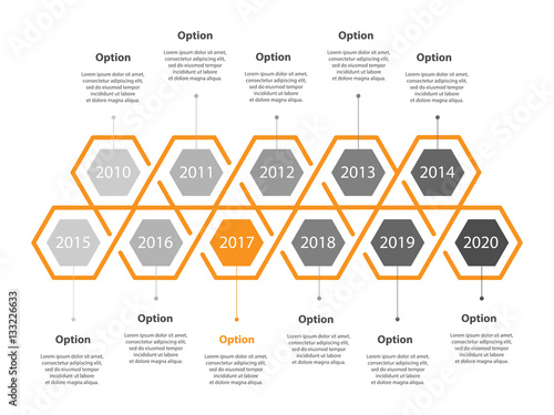 Infogaphic Timeline Diagram Progressive Years Template Honeycomb