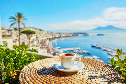 Garden Poster Napels Cup of coffee with view on Vesuvius mount in Naples